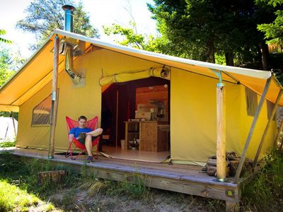 Photo for Camping Bivouac Nature - Canadian Tent 3 Rooms 4 Persons with Wood Stove