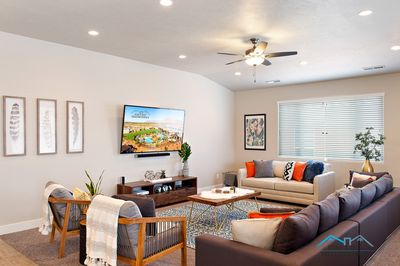 Gorgeous living room, professionally decorated with comfortable seating