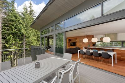Large outdoor patio with BBQ