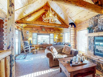 Photo for NEW LISTING! Cabin with private hot tub, lake and mountain views, large deck!