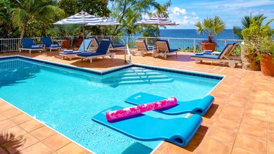 Enjoy our large pool deck, with comfy sun loungers and plenty of sun or shade!