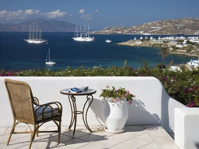 Photo for Walking distance to town. Clear view of the Sunset, Sea and Mykonos Town.