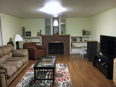 Living Room w/large screen TV and fireplace!