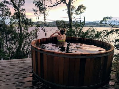 Photo for AERIE retreat. Hot tub, sauna, fire, private, waterfront, nature.