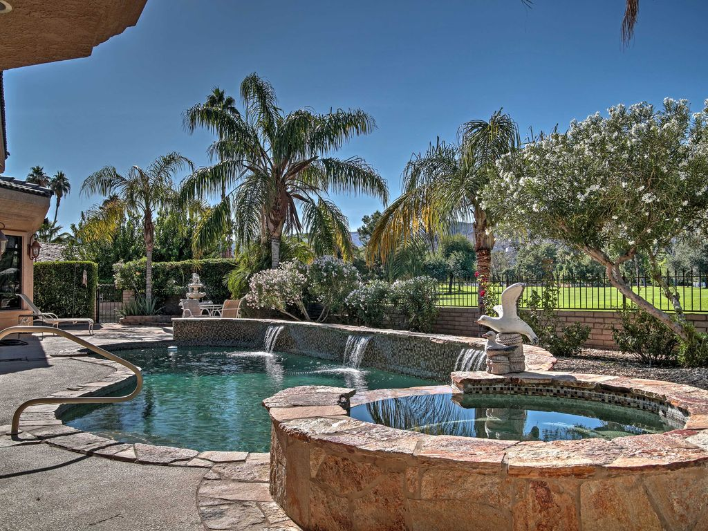 Featuring a spacious  fenced in yard with a private pool  this vacation  rental. Prime 4BR Home on Golf Course w Private      HomeAway Palm Springs