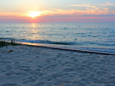 Photo for Lake Mich 300' Private Beach S. of Cathead Pt; 4 mi N. of Northport; Sleeps 16