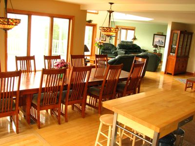 dining area with views of living room