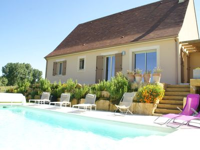 Photo for Wonderful home in Saint-Cyprien (4 km) with views of meadows and Pool