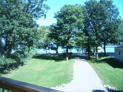 View of the lake from the wrap around deck