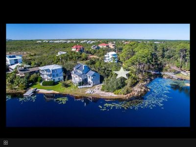 The house above the star is ours. The lake leads to the gulf and Topsail Park