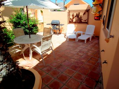CASA DEL MAR open air patio with 2 chaises, gas BBQ, umbrella table and 4 chairs