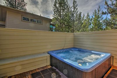 You'll be welcomed home with a private hot tub at the end of each busy day!