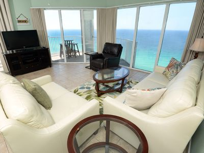 Photo for Exquisite gulf-front condo! Expansive balcony! Free beach service! Two lagoon pools on-site!