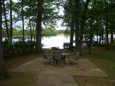 back yard with lake view