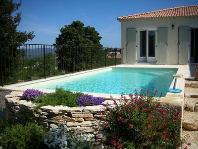Photo for Air-conditioned new house, swimming pool, WiFi, exceptional view of the Cevennes.