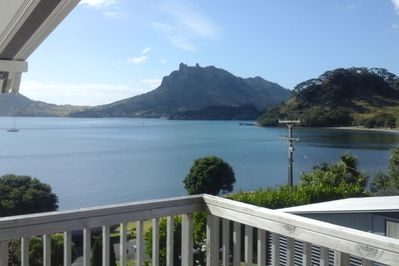View across Urquharts Bay to Mt Manaia.