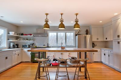 Kitchen view with large custom island