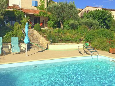 Photo for Attractive holiday home with private swimming pool and vast views across Lac du Verdon