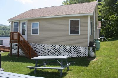Each cottage has a picnic table and gas grill