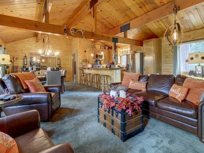Photo for Lakeview cabin with a private hot tub, wood fireplace, balcony, and grill