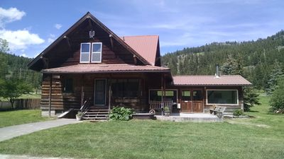 The Ranch House front.   4br 3bath on 1600 acres next to forest service