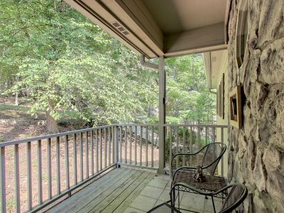 Photo for NEW LISTING! Secluded woodland home w/ a shared pool, fireplace, two decks