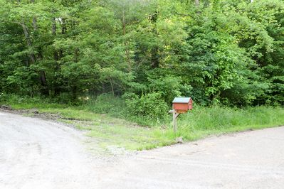 The cabin mailbox marks the driveway.  The Cabin is not visible from the road.