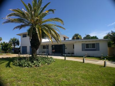 Big palm tree in the front. Two car garage and circular drive for convenience.