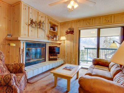 Photo for Cozy mountain condo w/ views & shared hot tub - walk to the slopes!