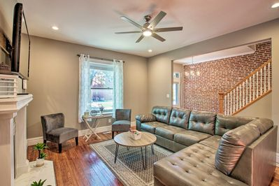 This 3-bed, 2-bath vacation rental provides accommodations for up to 14 guests.