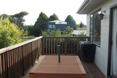 BBQ and outdoor furniture from the deck