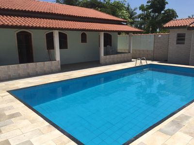Photo for * GREAT * House w / pool, barbecue, WIFI and cable tv 300 meters from the beach!