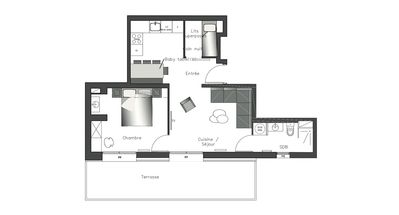 Photo for 48m2 apartment with terrace of 17m2 in Valloire at the foot of the gondolas