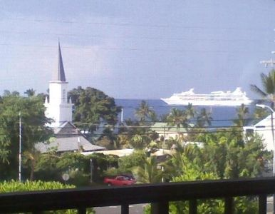 View cruise ship from the lanai on Kailua Bay.