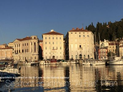 "Photo for Seafront apartment ""Ai Fari"" Piran, magnificent sea view in the historical town"