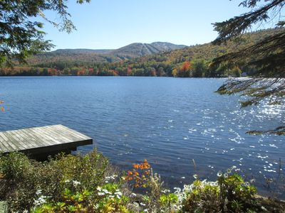 Photo for Lake-front Log Cabin with Mt. Sunapee Views