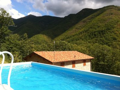 A view of the mountains from the pool