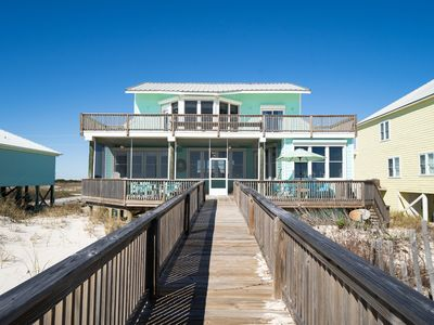 Photo for Recently renovated 5 bedroom, 4.5 bath gulf front private luxury home with large screened in porch, over sized upper and lower sun decks and dune walkover.
