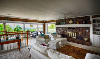 Enjoy the view of the lake from the open living area.