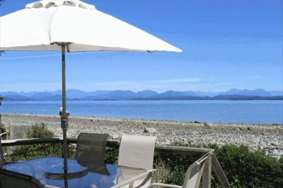 View from cottage, ocean and Coastal Mountains