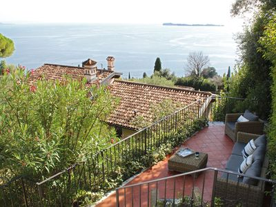 Photo for Charming Villa Belvedere with View of Lake Garda, Wi-Fi, Balcony, Garden, Terrace & Shared Pool; Parking Available