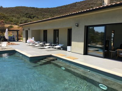 Photo for CONTEMPORARY VILLA WITH POOL AND EXCEPTIONAL VIEW 300 M BY FOOT FROM THE SEA