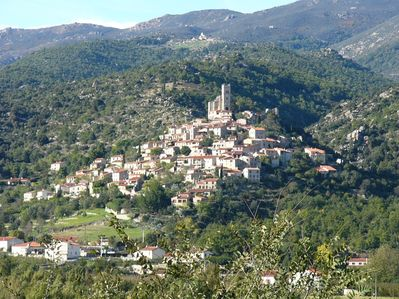 The village of Eus, from across the valley.