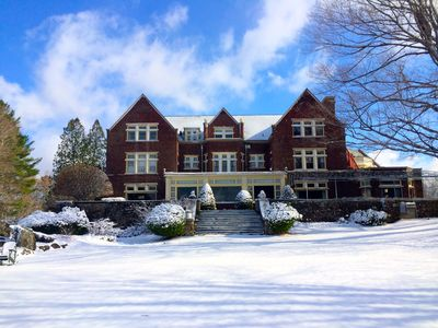 Wilburton Mansion in Winter - ideal for ski trips to Stratton Mt and Bromley Mt