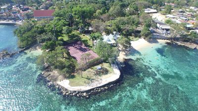 Aerial View of Property with two beaches and tennis court