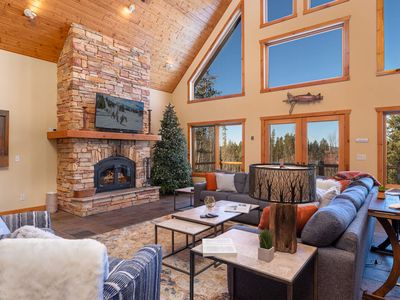 Photo for Gorgeous Mtn Home | Sleeps 14 | Private Hot Tub | Forest Setting | Wood Fireplace