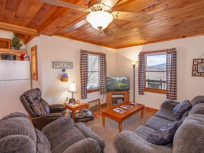 Photo for 3BR/2BA Cozy Mountain Cabin with Views, Hot Tub, Private, Close to Boone and West Jefferson!