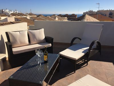 Photo for 3 Bedroom Town House With 3 Bathrooms, Large Living Room & Roof Terrace Sea View