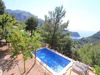 Photo for Small house in Cala Tuent with sea and mountain views. Private pool and free WIFI.
