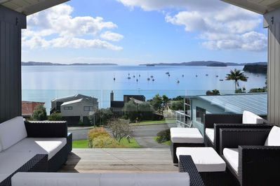 Blissful views out to Kawau Island from the large deck